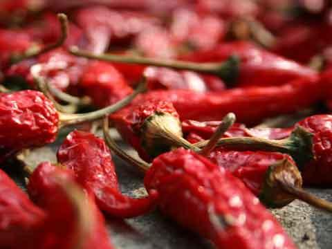 Rode pepers drogen